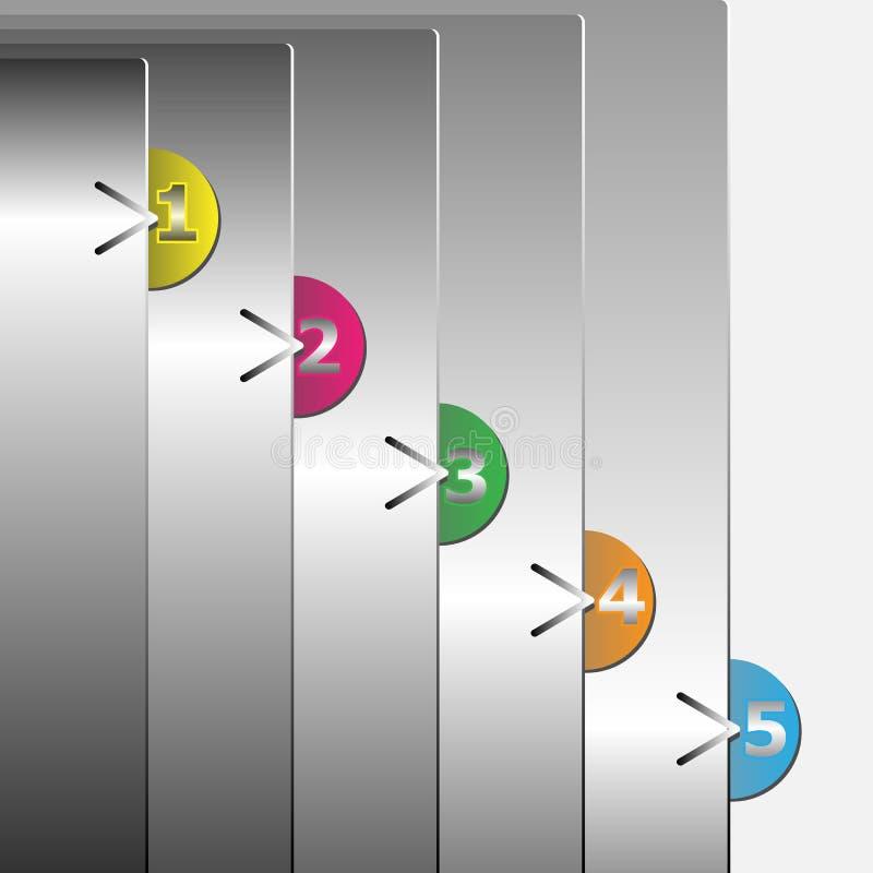 设计模板被编号的颜色横幅 库存例证
