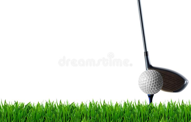 设计海报框、高尔夫球和草坪上的高尔夫球杆 库存图片