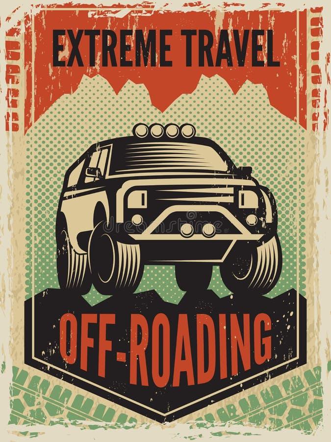 设计海报模板在减速火箭的样式的与suv大汽车 路机器 库存例证