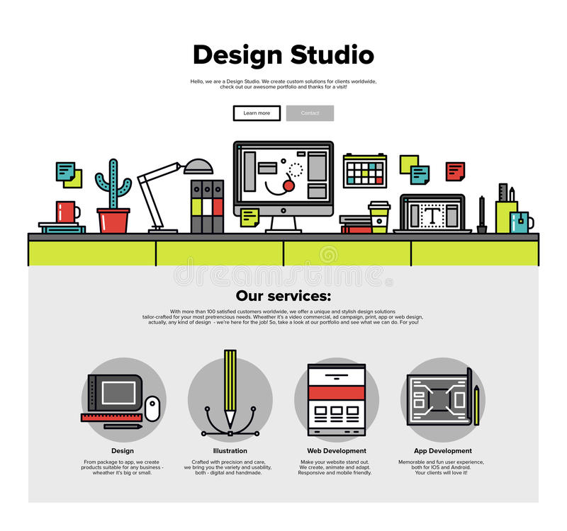 设计演播室平的线网图表 库存例证