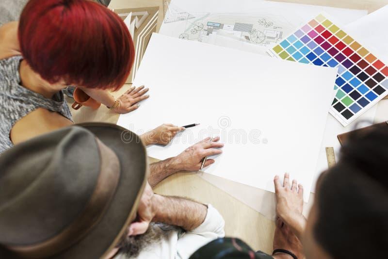 设计演播室建筑师创造性的职业图纸拷贝空间 免版税库存照片