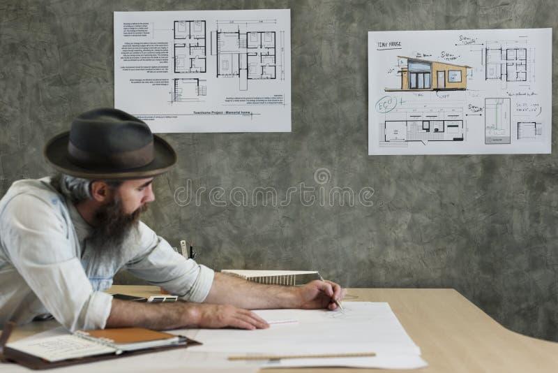 设计演播室建筑师创造性的职业图纸概念 库存图片