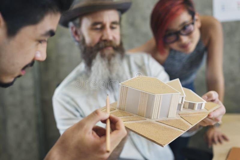 设计演播室建筑师创造性的职业议院模型概念 库存图片