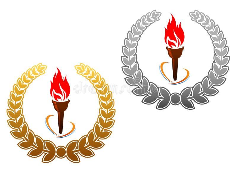 设计火焰状体育运动火炬 向量例证