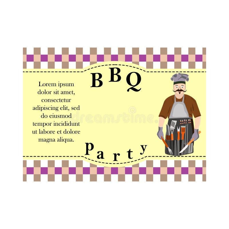 设计烤肉的,与BBQ人的图象的邀请卡片元素 向量例证