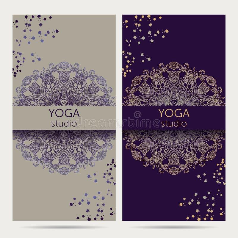 设计瑜伽演播室的模板有坛场装饰品背景 皇族释放例证