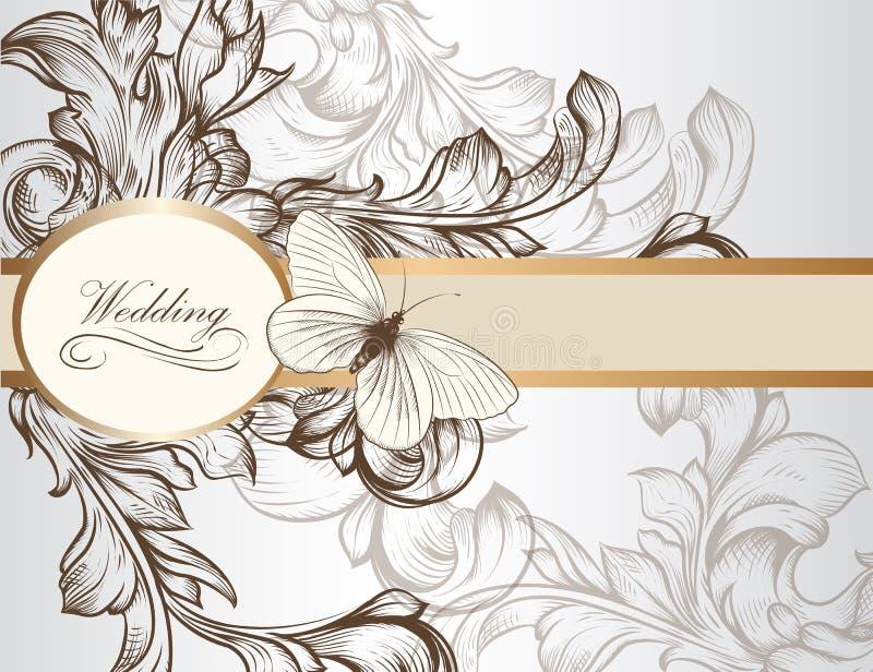 设计的典雅的婚礼邀请卡片 向量例证