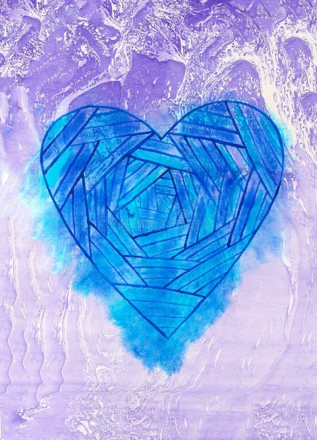 设计的创造性的大理石纹理与心脏 充满活力的手画背景 手工制造覆盖物 装饰混乱织地不很细pape 向量例证