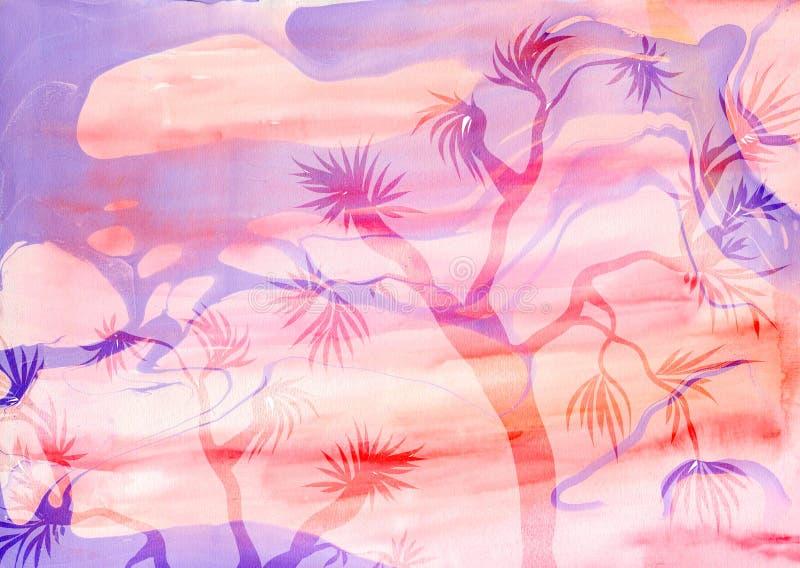 设计的创造性的纹理 充满活力的手画水彩背景 手工制造覆盖物 装饰五颜六色的织地不很细纸与 向量例证