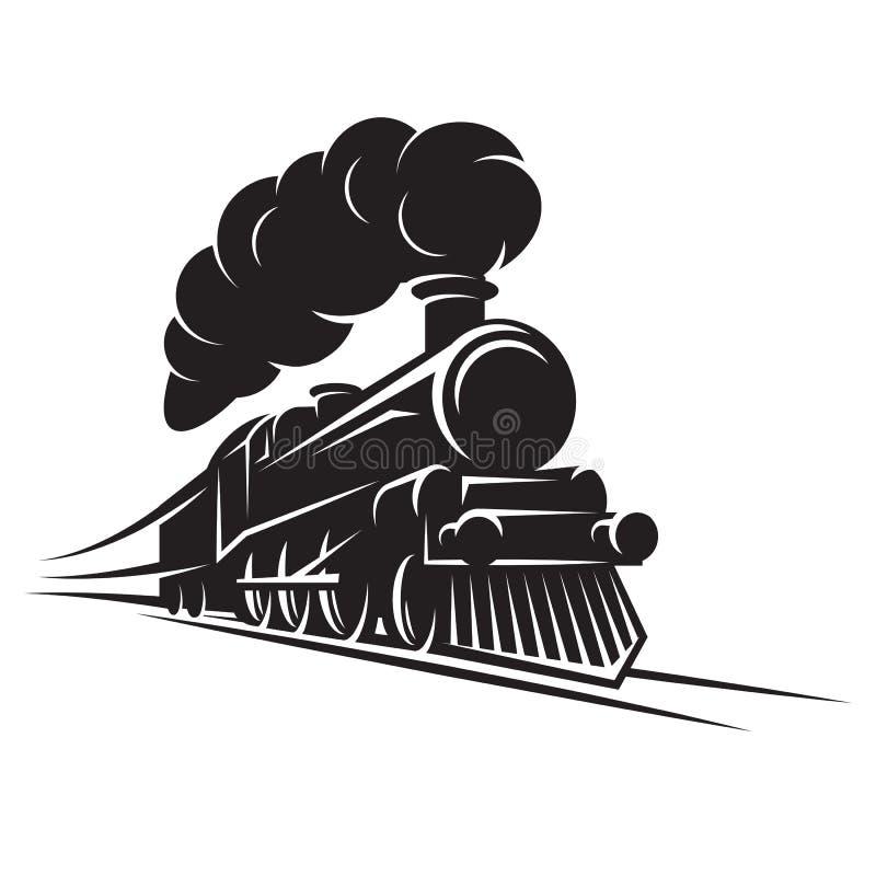 设计的单色样式与在路轨的减速火箭的火车 传染媒介可升级的例证 向量例证