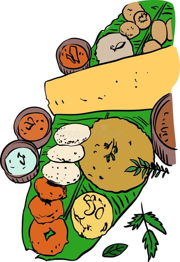 设计的印度食物板材传染媒介例证 库存例证
