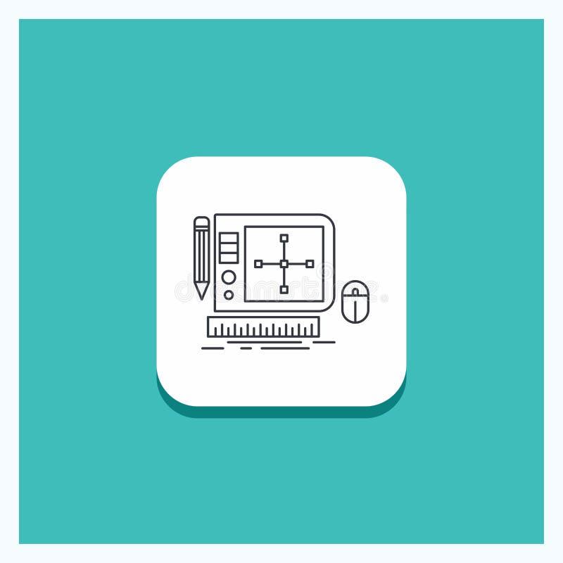 设计的圆的按钮,图表,工具,软件,网络设计线象绿松石背景 向量例证