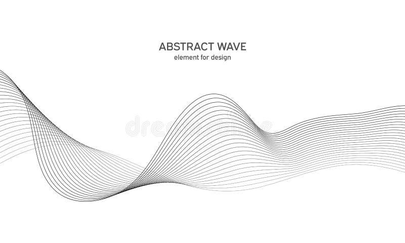 设计的抽象波浪元素 数字式频率轨道调平器 风格化线艺术背景 也corel凹道例证向量 波浪与 向量例证
