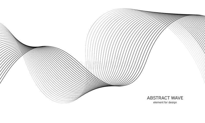设计的抽象波浪元素 数字式频率轨道调平器 风格化线艺术背景 也corel凹道例证向量 向量例证