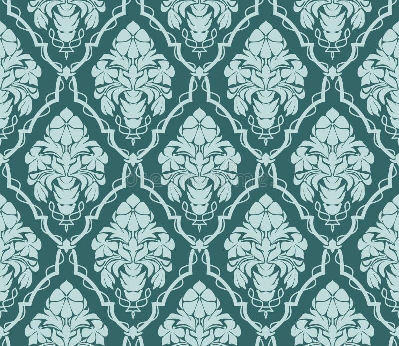 设计的无缝的华丽锦缎墙纸 与花花束的装饰品  向量例证