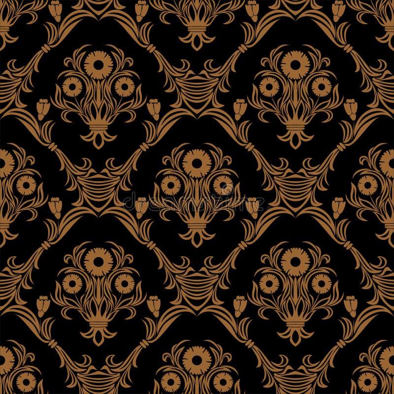 设计的无缝的华丽锦缎花墙纸 库存例证
