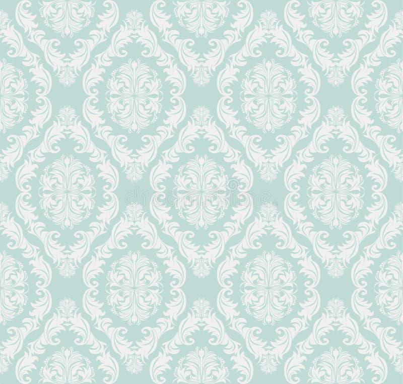 设计的无缝的柔和蓝色减速火箭的锦缎墙纸 向量例证