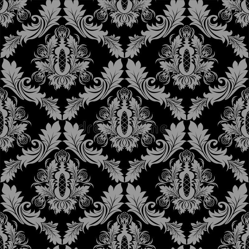 设计的无缝的花卉锦缎墙纸 向量例证