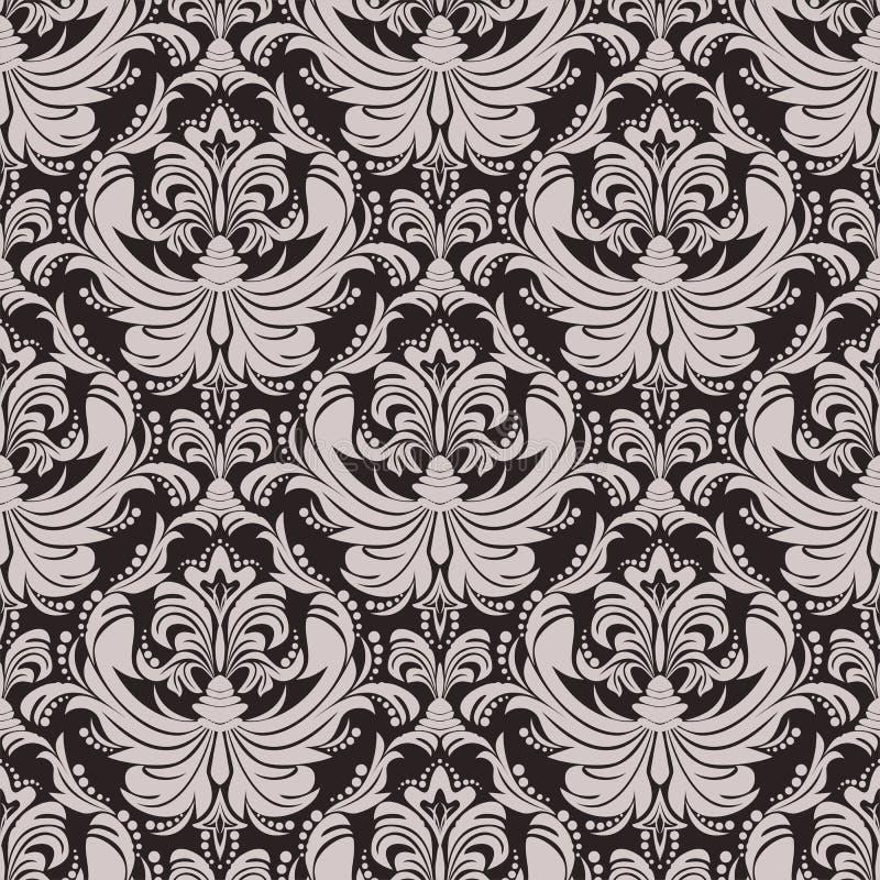 设计的无缝的花卉锦缎墙纸 库存例证