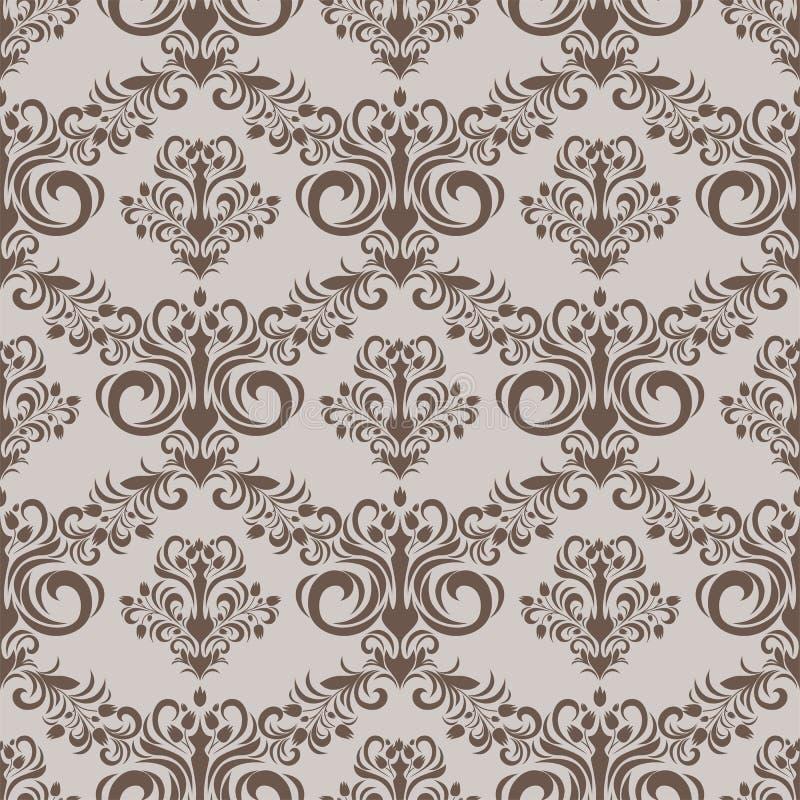 设计的无缝的花卉锦缎样式 皇族释放例证