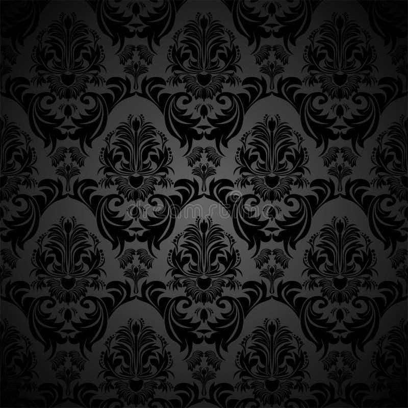 设计的无缝的花卉锦缎黑色墙纸 皇族释放例证