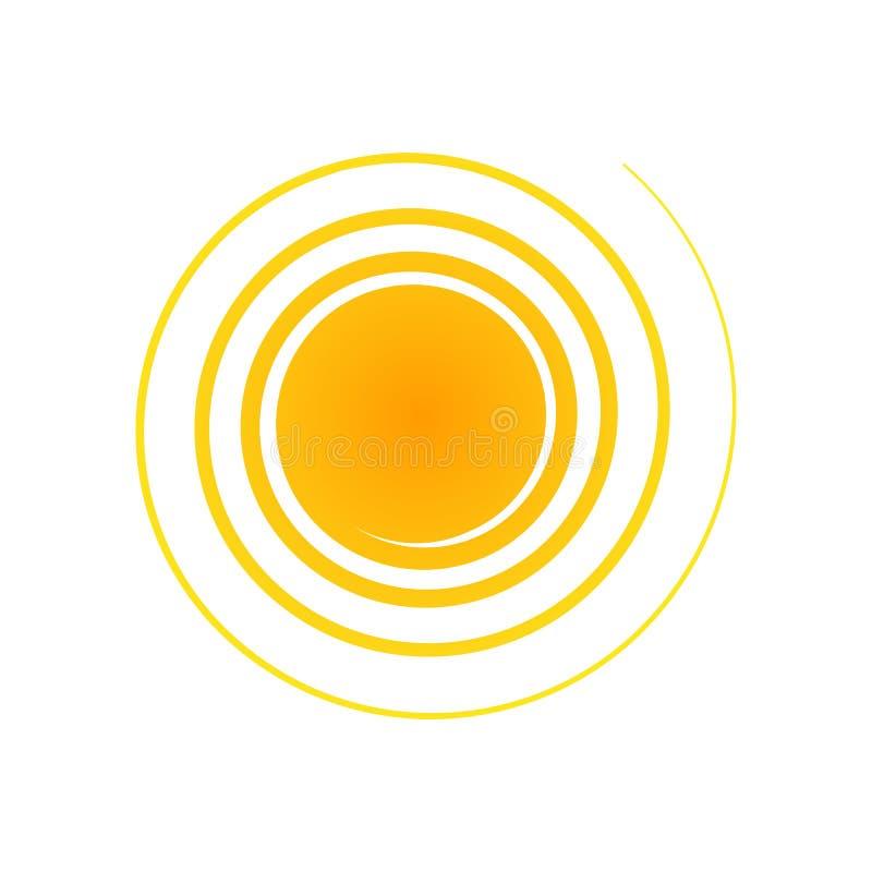 设计的橙色抽象圈子横幅元素以与螺旋光芒半音装饰被隔绝的标志的太阳的形式 向量例证