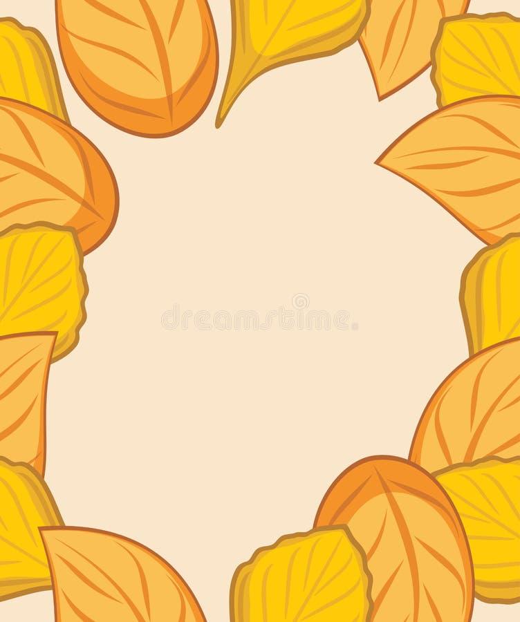 设计的秋天叶茂盛框架 皇族释放例证