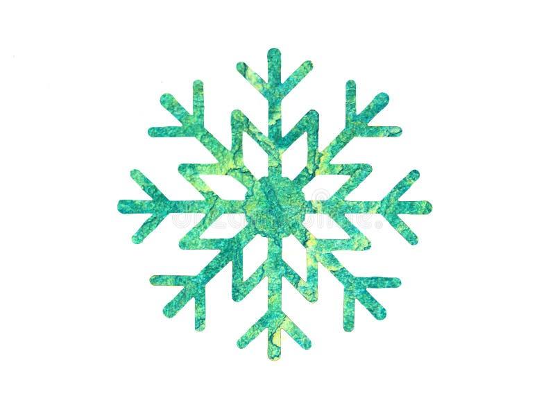 设计的绿色水彩雪花 免版税库存照片