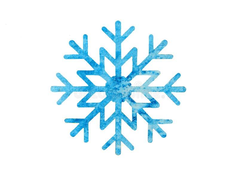 设计的蓝色水彩雪花 免版税库存照片