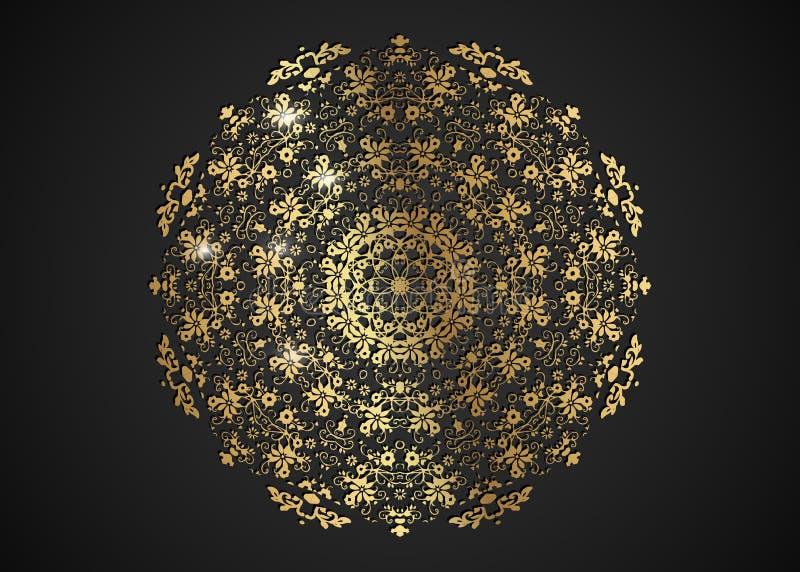 设计的装饰圆的金框架与激光切开了装饰品 豪华金黄圈子坛场 打印的明信片一块模板 皇族释放例证