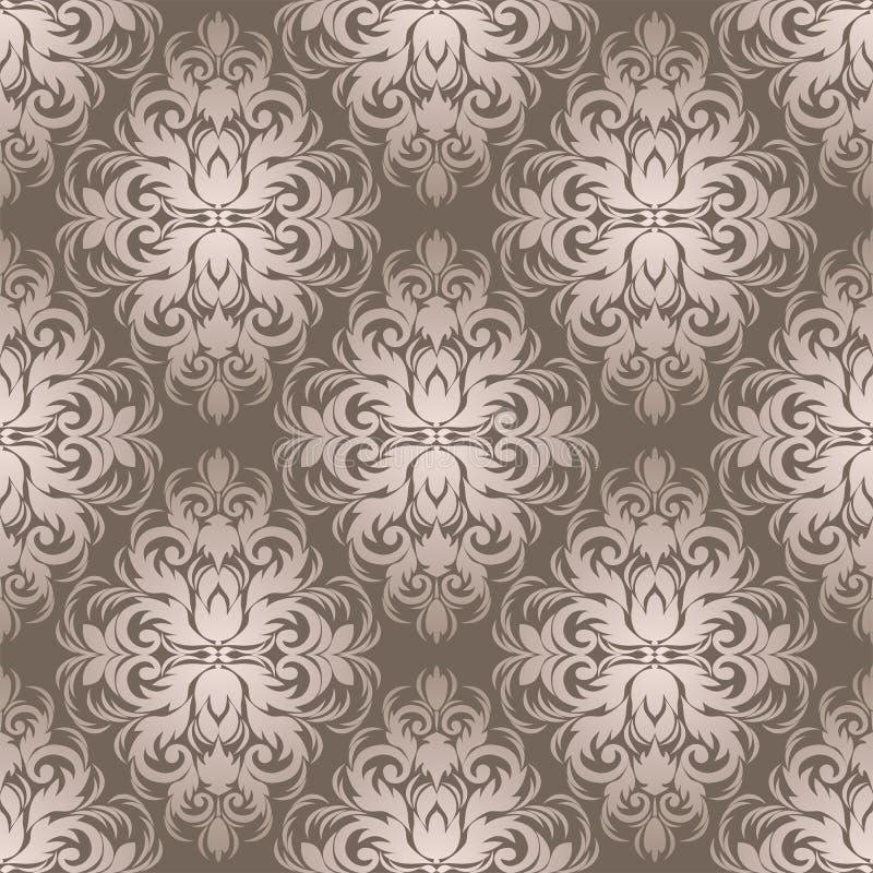 设计的银色无缝的锦缎墙纸 库存例证