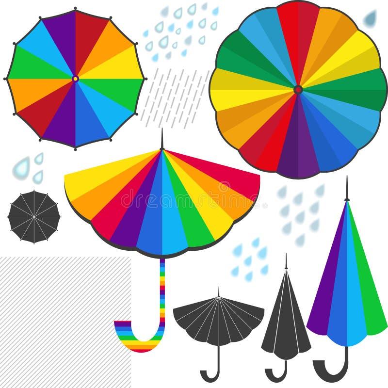 设计的集合被隔绝的元素与五颜六色的伞 向量例证