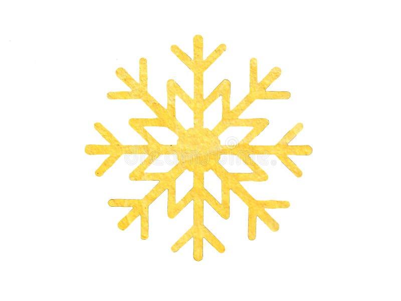 设计的黄色水彩雪花 免版税库存照片