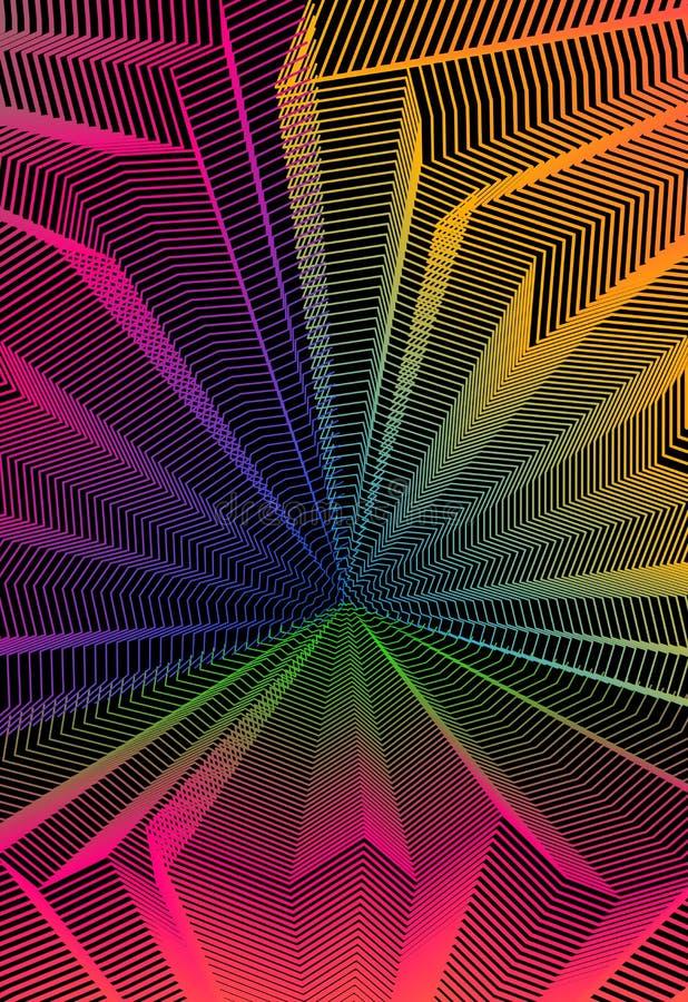 设计的,线性3d波动波栅纹理,屋子的内在空间传染媒介摘要艺术性的背景 意想不到荧光时髦 皇族释放例证