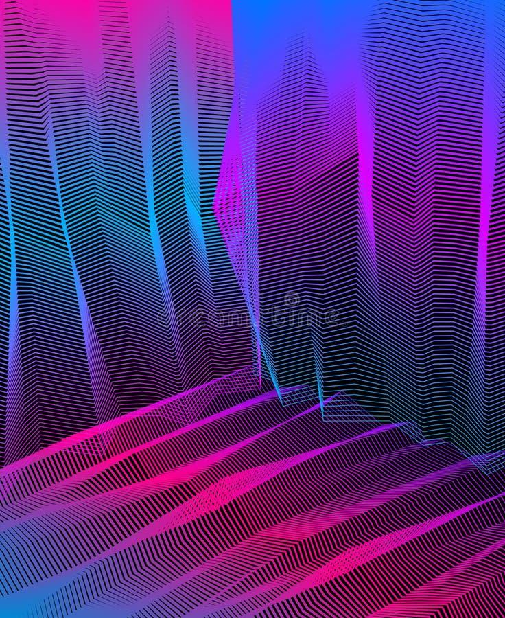 设计的,线艺术3d尺寸织地不很细内在空间,迷幻剂药物旅行题材传染媒介超现实的幻觉艺术 ?? 库存例证