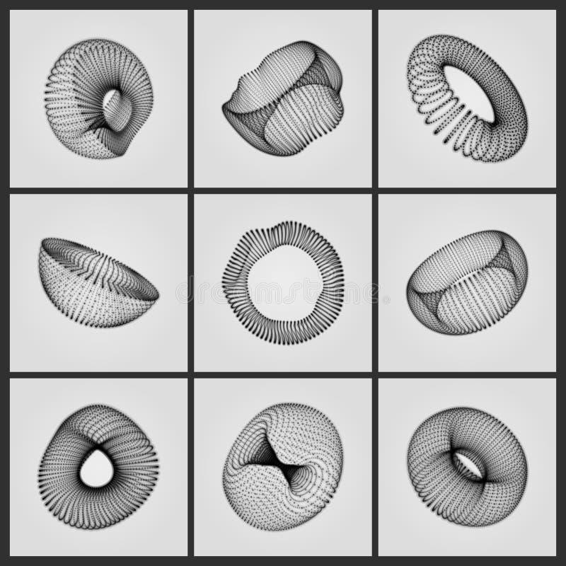 设计的Eometric形状 包括点的花托 包括点的半球形 分子栅格 向量例证