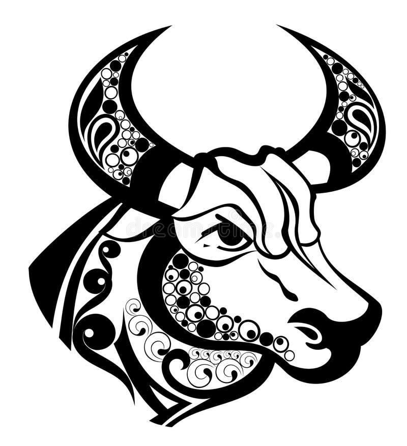 设计签署纹身花刺金牛座黄道带 向量例证