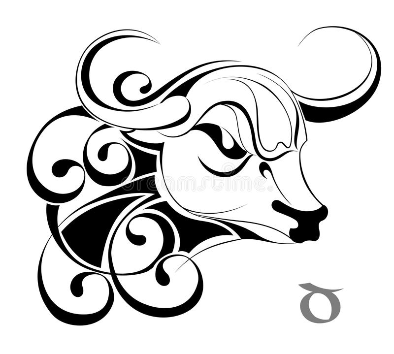 设计签署纹身花刺金牛座黄道带 库存例证