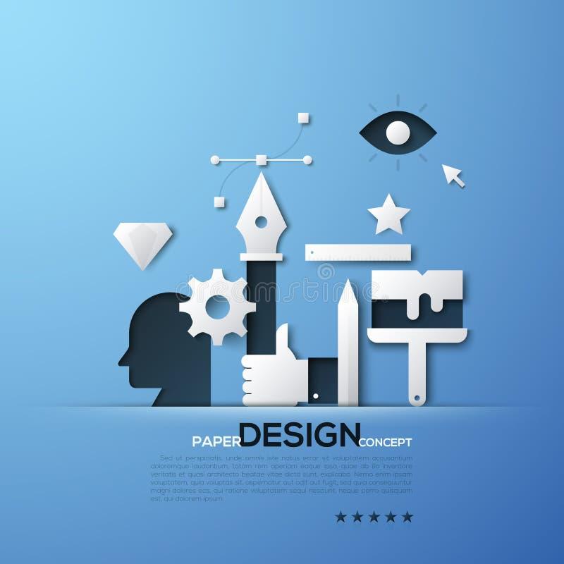 设计纸概念 设计师和以图例解释者工具,头,手候宰栏, Bezier曲线白色剪影  皇族释放例证