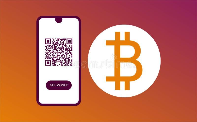 设计网页模板 现在扫描和得到金钱 bitkoin设计 网横幅设计 颜色模板 ?? 库存例证