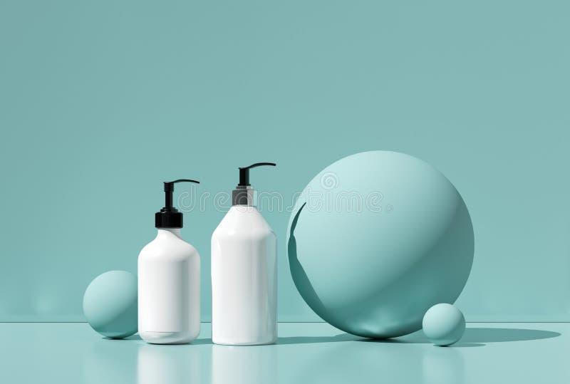 设计自然化妆奶油,血清, skincare空白瓶包装 生物有机产品 秀丽和温泉概念 免版税库存照片