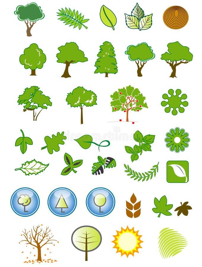 设计自然要素的图标 库存图片