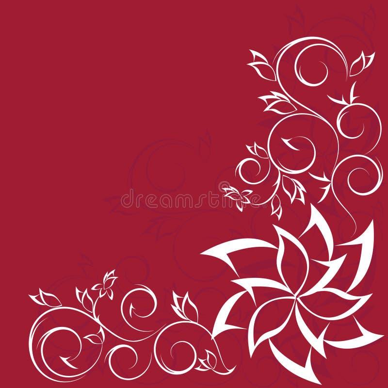 设计花卉查出的华丽红色滚动 向量例证