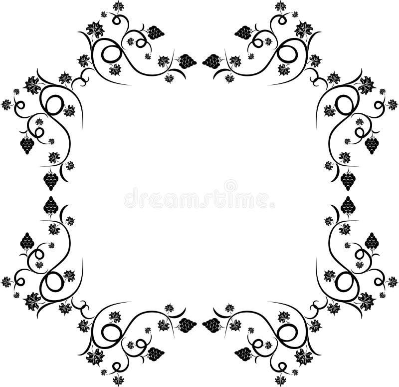 设计花卉框架葡萄 向量例证