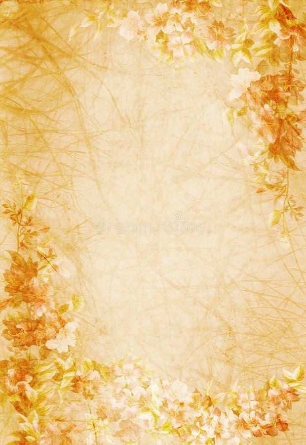 设计花卉老纸张 免版税库存图片