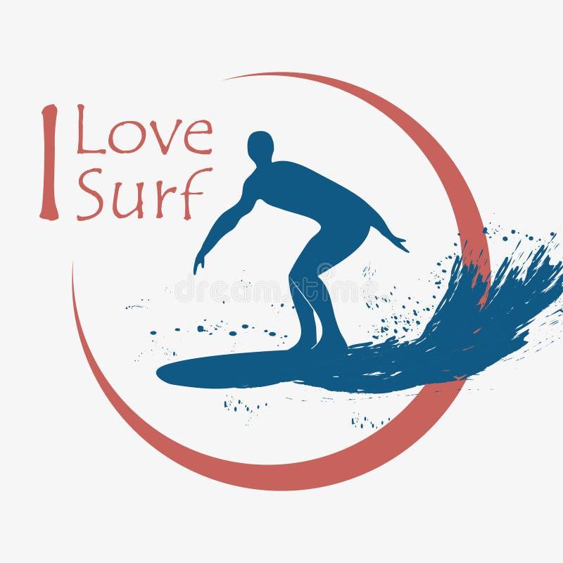 设计衣裳的, T恤杉冲浪的印刷术 冲浪者,冲浪板,波浪 印刷品产品的图表 向量 皇族释放例证