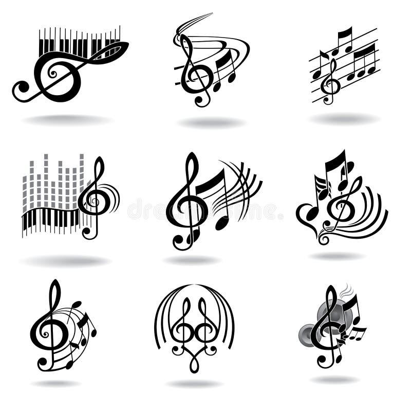设计要素图标被设置的音乐附注 向量例证