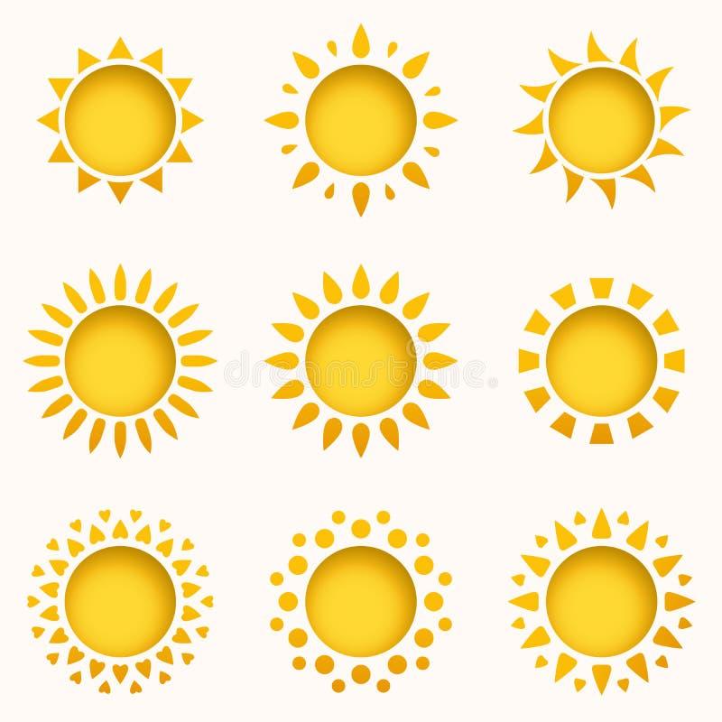 设计要素图标集合星期日 夏天天空元素 太阳剪影汇集 被隔绝的太阳标志 逗人喜爱的动画片太阳象 向量例证