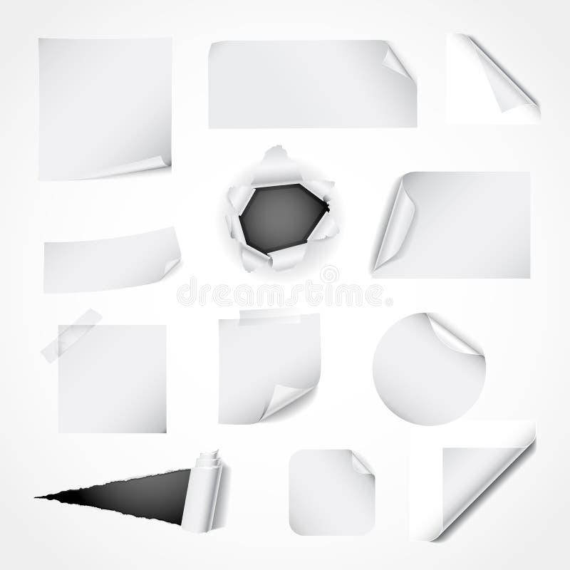 设计要素纸张集合白色 向量例证