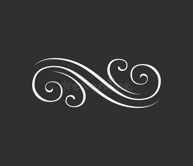 设计要素花卉例证向量 漩涡, skroll元素 也corel凹道例证向量 皇族释放例证